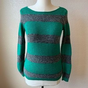 Madewell Green Striped Sweater Wool Alpaca